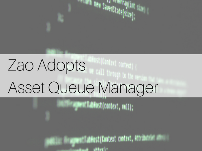 Zao Adopts Asset Queue Manager on background of WordPress code image