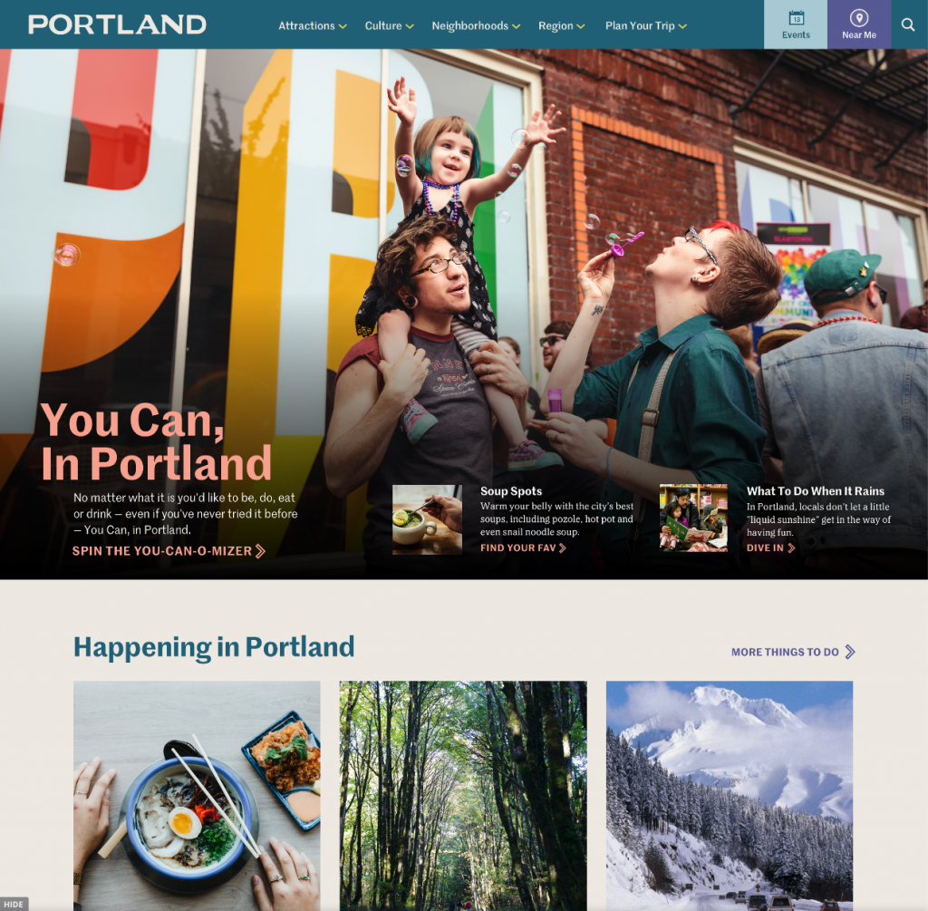 Travel Portland screenshot of Website
