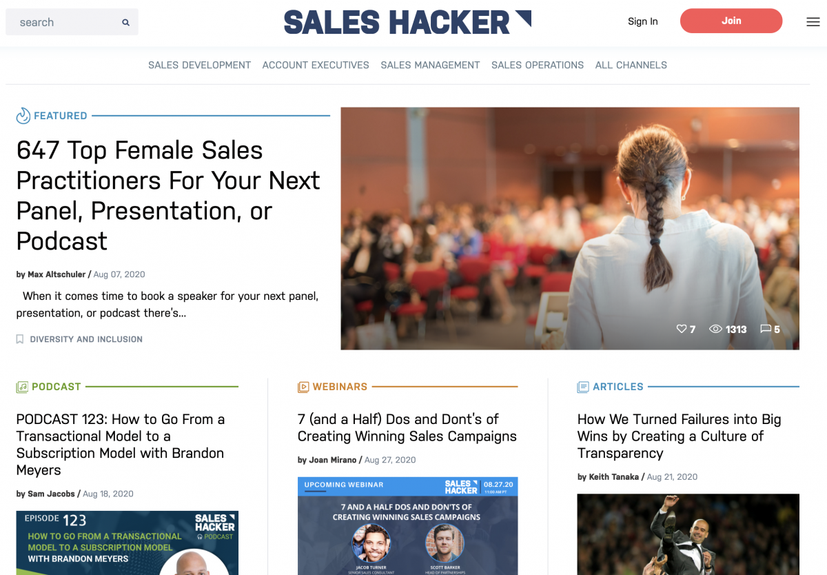 Screenshot of Saleshacker.com website
