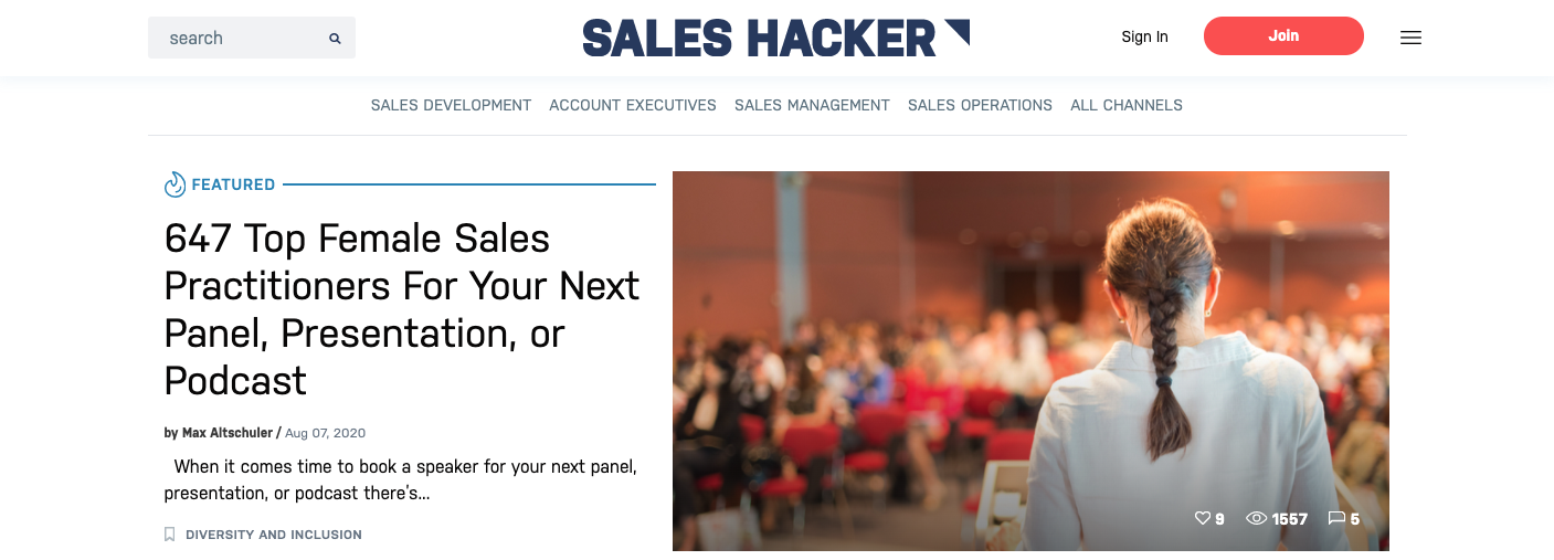 Screenshot of Sales Hacker Home Page
