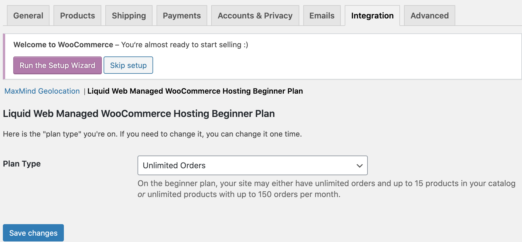 WooCommerce Upper Limits Settings page.
